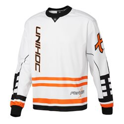 UNIHOC Goalie Sweater Feather weiss/neon orange - Erwachsene